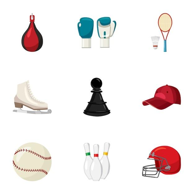Set di icone dello sport, stile cartoon Vettore Premium