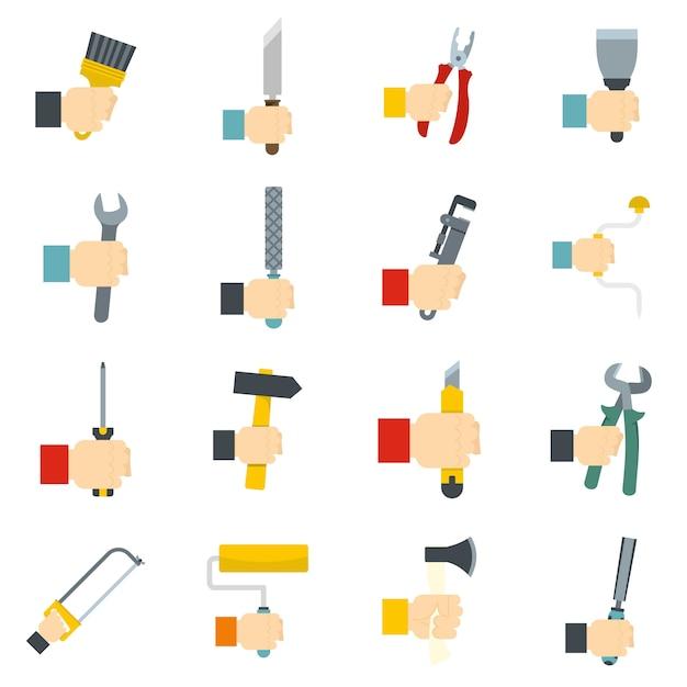 Set di icone dello strumento mano Vettore Premium