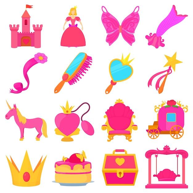 Set di icone di accessori principessa Vettore Premium