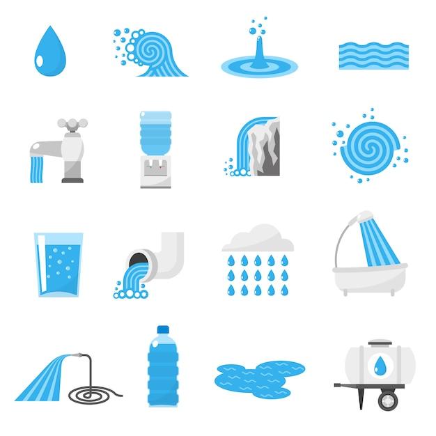 Set di icone di acqua Vettore gratuito
