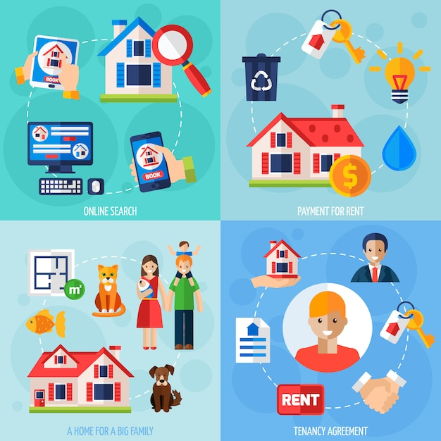 Set di icone di affitto e locazione Vettore gratuito
