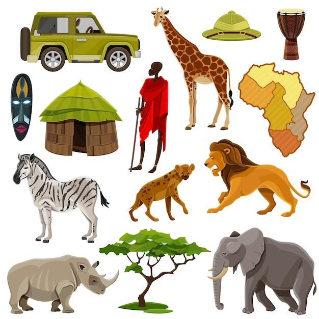 Set di icone di africa Vettore gratuito