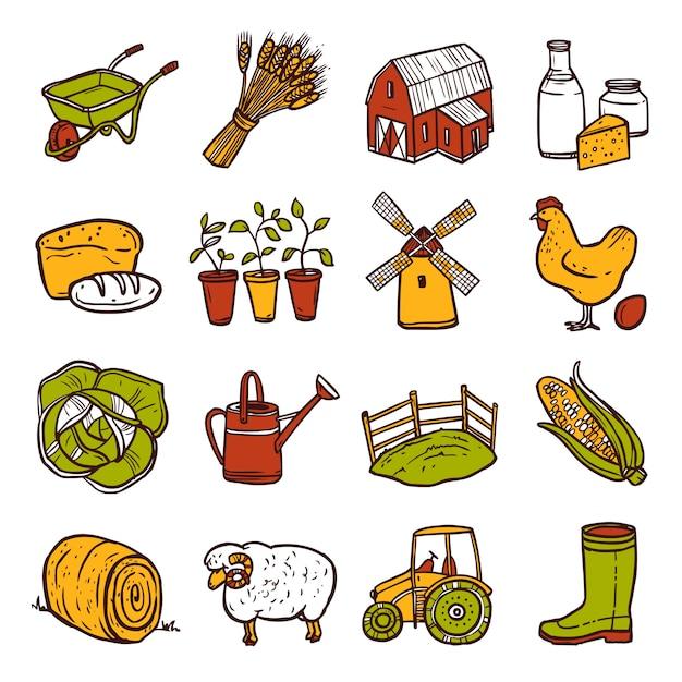 Set di icone di agricoltura Vettore gratuito
