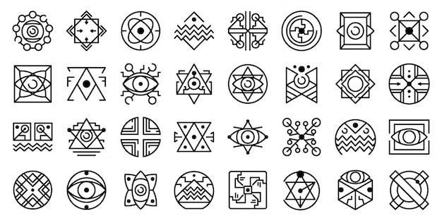 Set di icone di alchimia, struttura di stile Vettore Premium