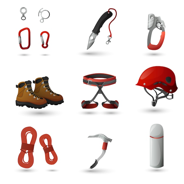 Set di icone di alpinismo Vettore gratuito