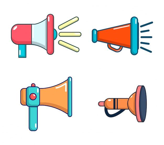 Set di icone di altoparlante della mano. l'insieme del fumetto delle icone di vettore dell'altoparlante della mano ha messo isolato Vettore Premium