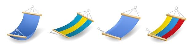 Set di icone di amaca, stile realistico Vettore Premium