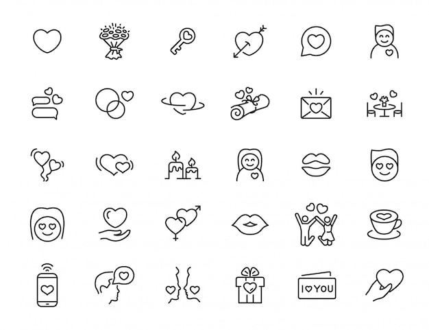Set di icone di amore lineare. icone di relazione in un design semplice. illustrazione vettoriale Vettore Premium