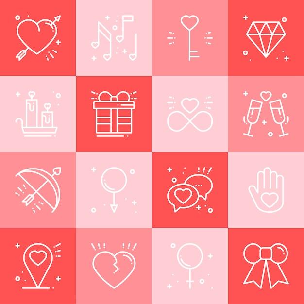 Set di icone di amore Vettore Premium