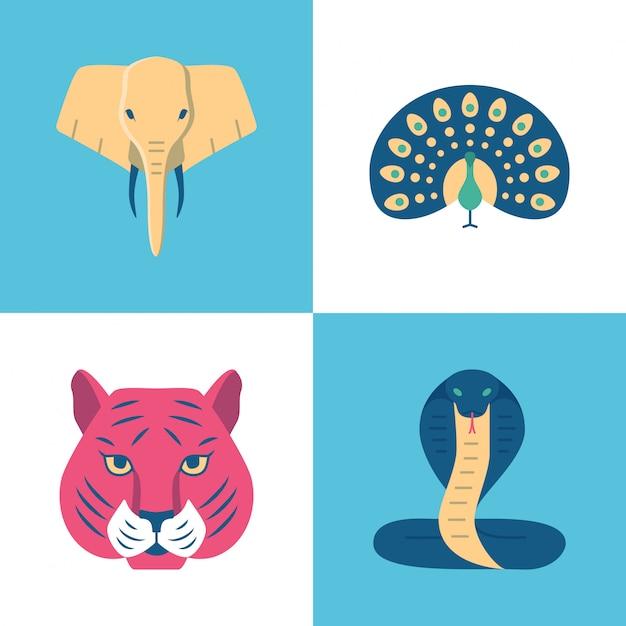 Set di icone di animali sacri di india Vettore Premium