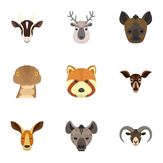 Set di icone di animali. set piatto di 9 icone vettoriali animali Vettore Premium