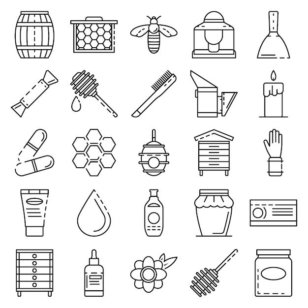 Set di icone di apicoltura. insieme del profilo delle icone di vettore di apicoltura Vettore Premium