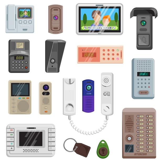 Set di icone di apparecchiature di comunicazione sulla porta vettoriale interfono Vettore Premium