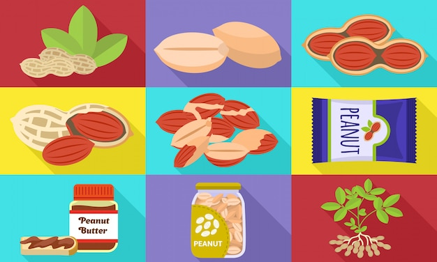 Set di icone di arachidi. set piatto di vettore di arachidi Vettore Premium