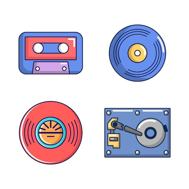 Set di icone di archiviazione informazioni. l'insieme del fumetto delle icone di vettore di stoccaggio di informazioni ha messo isolato Vettore Premium