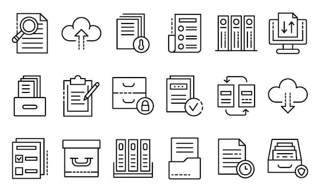 Set di icone di archivio, struttura di stile Vettore Premium