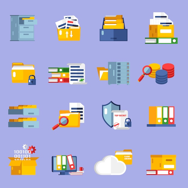 Set di icone di archivio Vettore gratuito