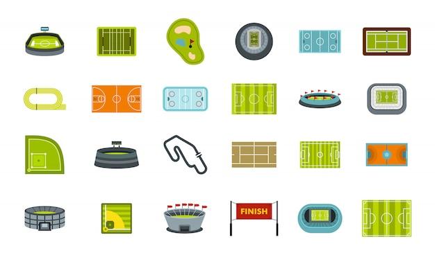Set di icone di arena sportiva. insieme piano della raccolta delle icone di vettore dell'arena dello sport isolato Vettore Premium