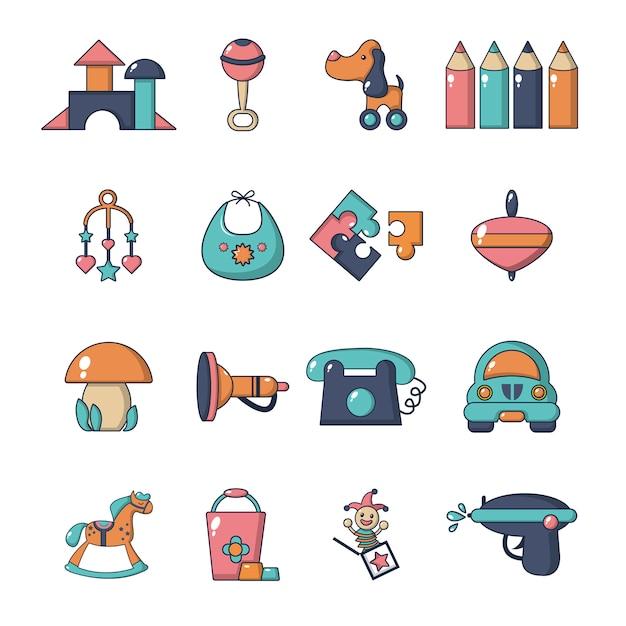 Set di icone di asilo Vettore Premium