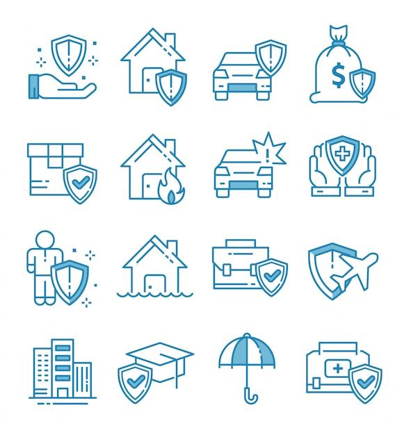 Set di icone di assicurazione con struttura di stile Vettore Premium
