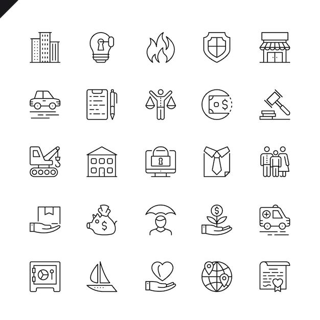 Set di icone di assicurazione linea sottile Vettore Premium