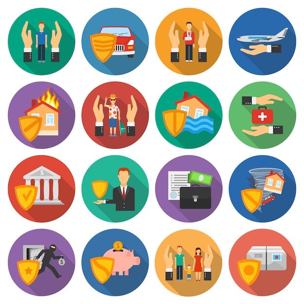 Set di icone di assicurazione Vettore gratuito