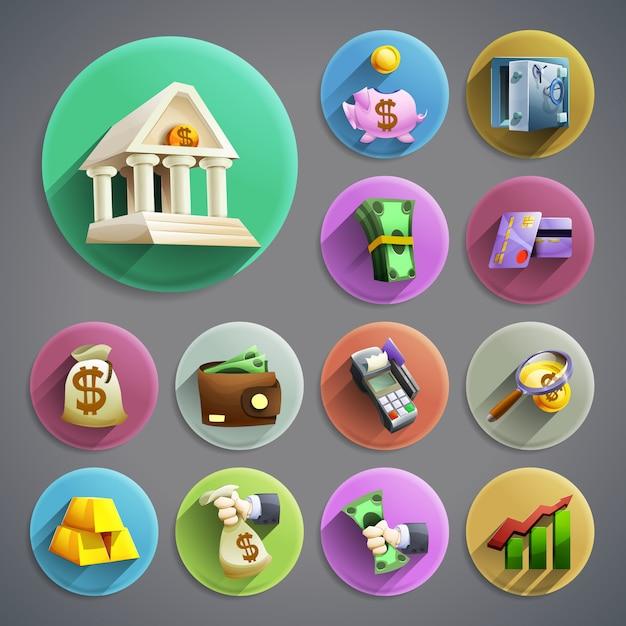Set di icone di attività bancarie Vettore gratuito