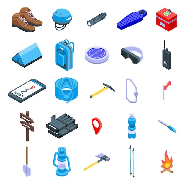 Set di icone di attrezzatura alpinismo, stile isometrico Vettore Premium