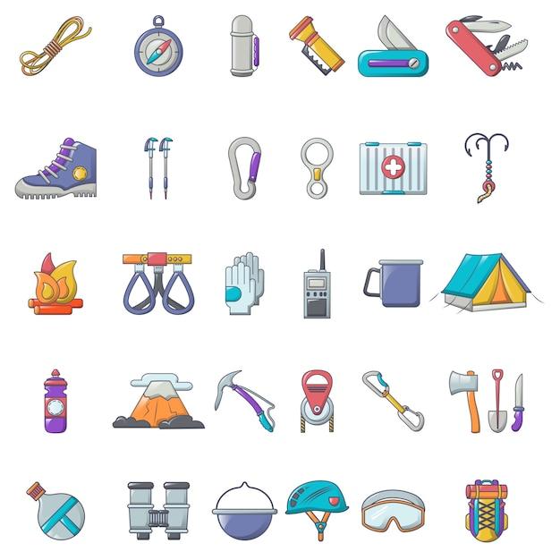 Set di icone di attrezzature alpinismo Vettore Premium