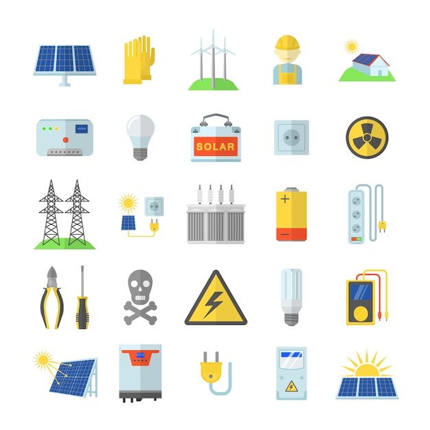 Set di icone di attrezzature di energia solare. un'illustrazione piana di 25 icone dell'attrezzatura di energia solare per il web Vettore Premium