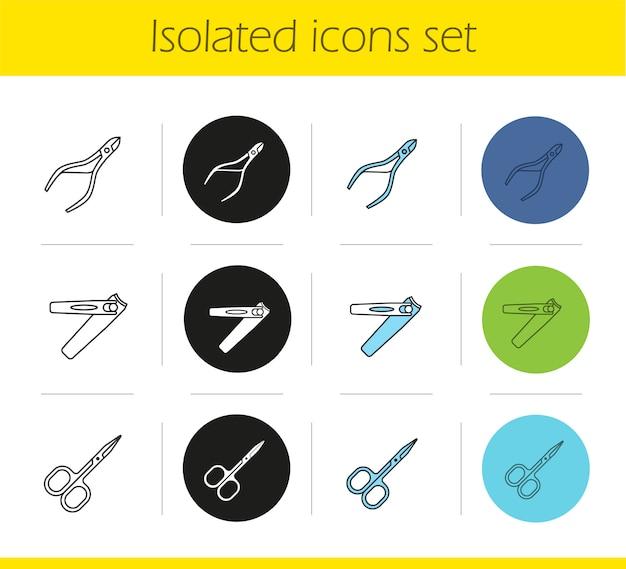 Set di icone di attrezzature manicure Vettore Premium