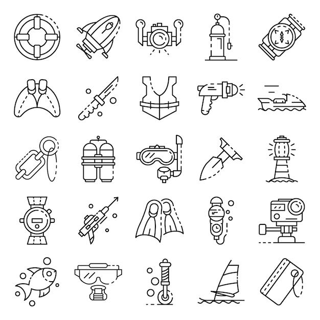Set di icone di attrezzature per lo snorkeling. insieme del profilo delle icone di vettore dell'attrezzatura per lo snorkeling Vettore Premium