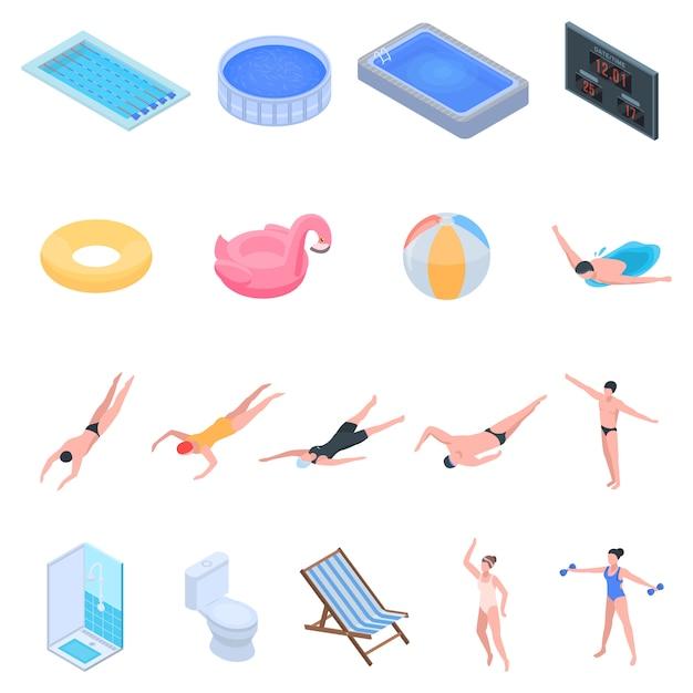 Set di icone di attrezzature piscina. insieme isometrico delle icone di vettore dell'attrezzatura dello stagno per web design isolato su fondo bianco Vettore Premium
