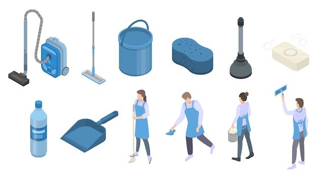 Set di icone di attrezzature più pulite, in stile isometrico Vettore Premium