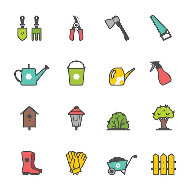 Set di icone di attrezzi da giardino e accessori Vettore Premium