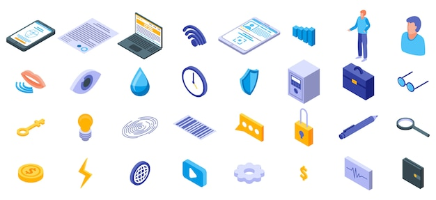 Set di icone di autenticazione biometrica, stile isometrico Vettore Premium