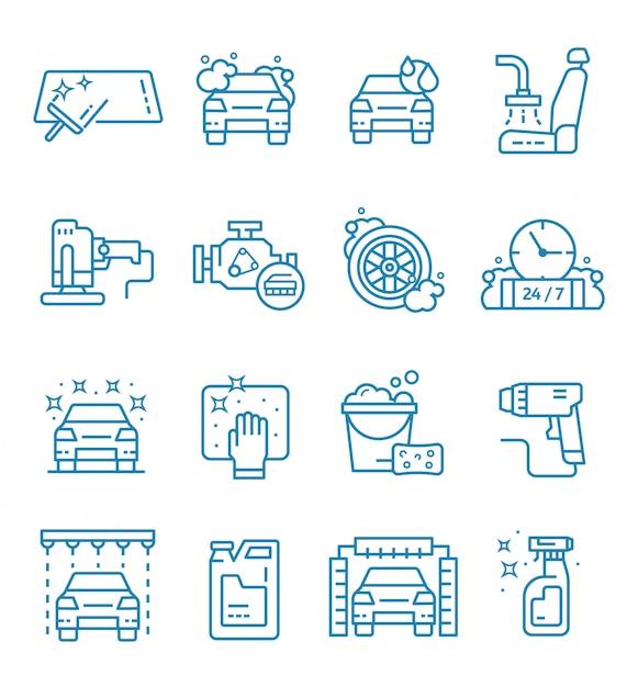 Set di icone di autolavaggio con struttura di stile Vettore Premium