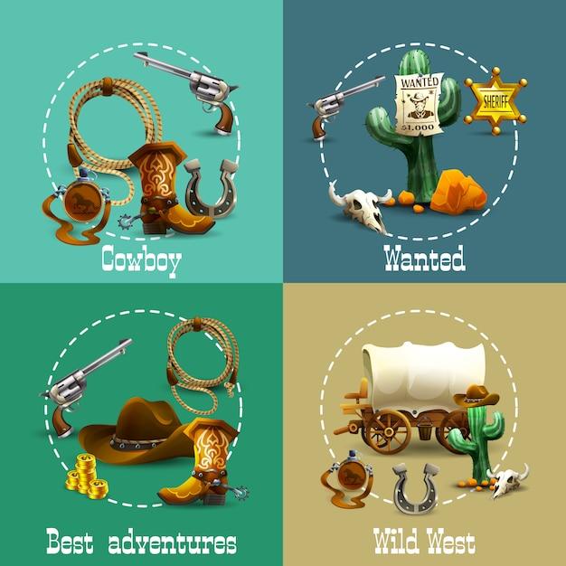 Set di icone di avventure del selvaggio west Vettore gratuito