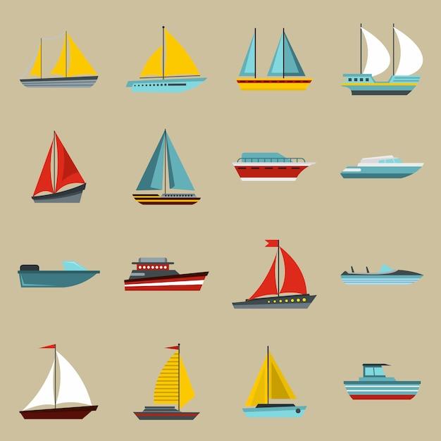 Set di icone di barca e nave Vettore Premium
