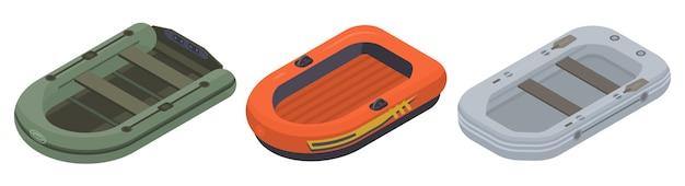 Set di icone di barca gonfiabile, stile isometrico Vettore Premium