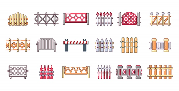 Set di icone di barriera. l'insieme del fumetto delle icone di vettore della barriera ha messo isolato Vettore Premium