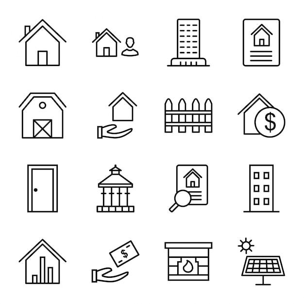 Set di icone di beni immobili Vettore Premium