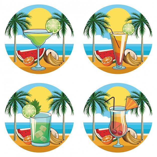 Set di icone di bevande cocktail tropicale Vettore Premium