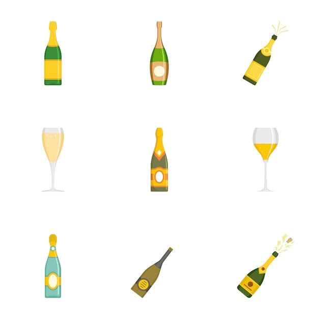 Set di icone di bicchiere, stile cartoon Vettore Premium