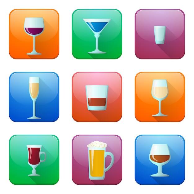 Set di icone di bicchieri di alcol lucido Vettore Premium