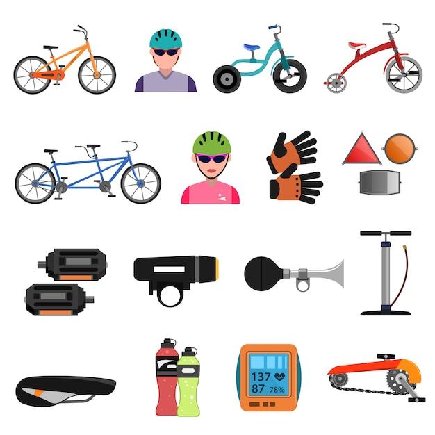 Set di icone di biciclette piatte Vettore gratuito