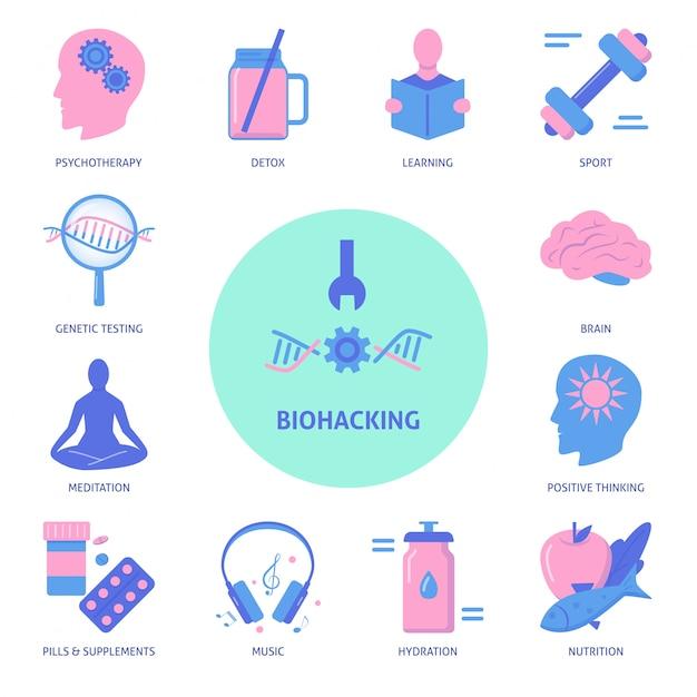 Set di icone di biohacking Vettore Premium