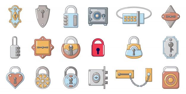 Set di icone di blocco. l'insieme del fumetto delle icone di vettore della serratura ha messo isolato Vettore Premium