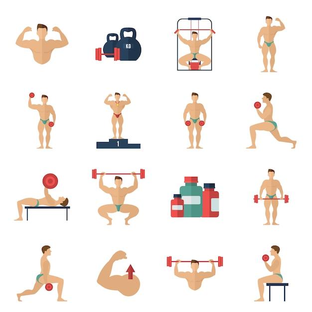 Set di icone di bodybuilding Vettore gratuito