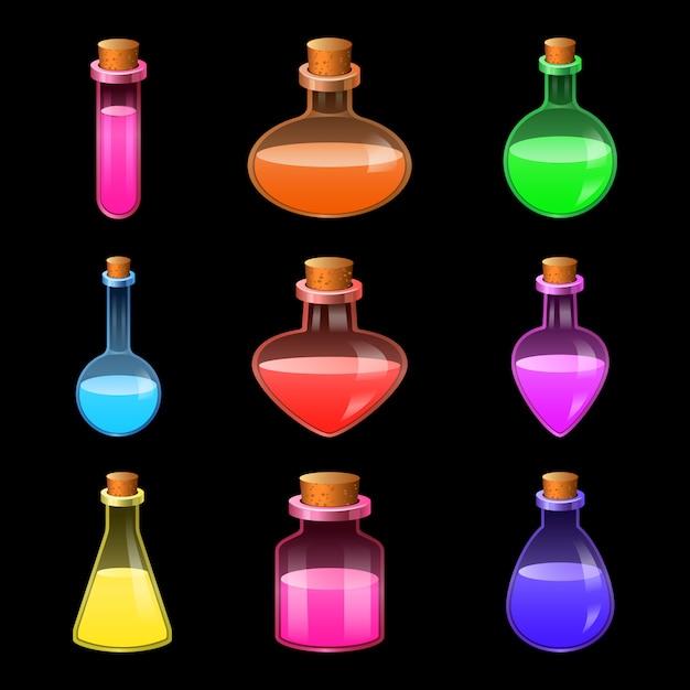 Set di icone di bottiglia magica pozione Vettore Premium